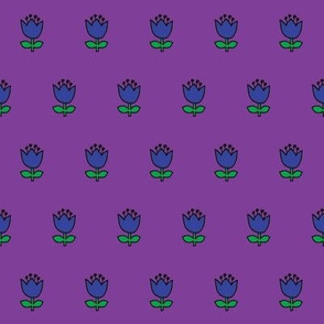 Little flower - blue on purple