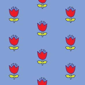 Little flower - red on baby blue
