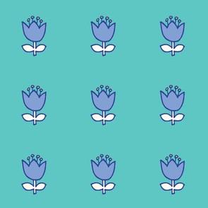 Little flower - blue on turquoise