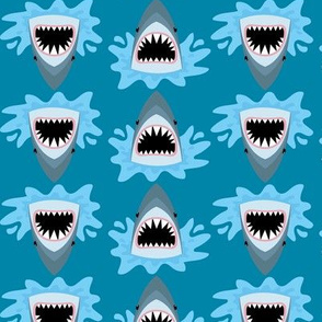 Cute Summer Shark Pattern on Blue