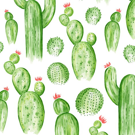 Cactus Garden - Watercolor Green fabric by heatherdutton on Spoonflower - custom fabric