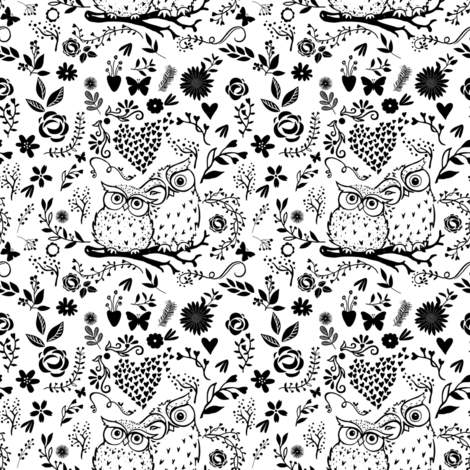 Mommy & Me Owls - Black and White fabric by shopcabin on Spoonflower - custom fabric