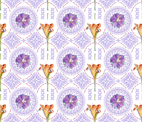 Trompe l'oeil Cut Work and Flowers fabric by patriciasheadesigns on Spoonflower - custom fabric