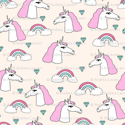 unicorn // sweet rainbow unicorn jewels pink pastel champagne off-white cream cute unicorn