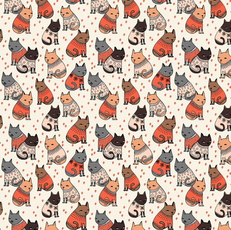 cats in sweaters holiday christmas sweater ugly sweater illustration pattern for fashion textiles and - Christmas Sweater Wallpaper