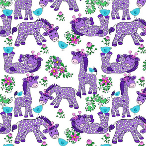 ****Baby Giraffes BOWS Birds Flowers Purple WHITE