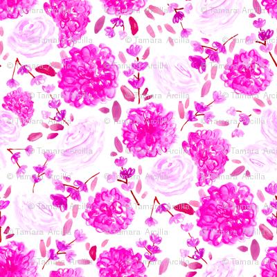 Pink Floral // spring, modern, trendy, fuchsia, cherry blossom, rose, vintage, girly