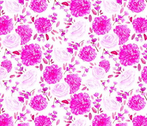 Pink Floral // spring, modern, trendy, fuchsia, cherry blossom, rose, vintage, girly  fabric by tamara_arcilla on Spoonflower - custom fabric