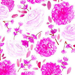 Pink Floral // spring, modern, trendy, fuchsia, cherry blossom, rose, vintage, girly