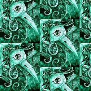 Birds of a Feather,  in Shades of Teal, Ornate  Bird, Diagonal  Slant to Right,