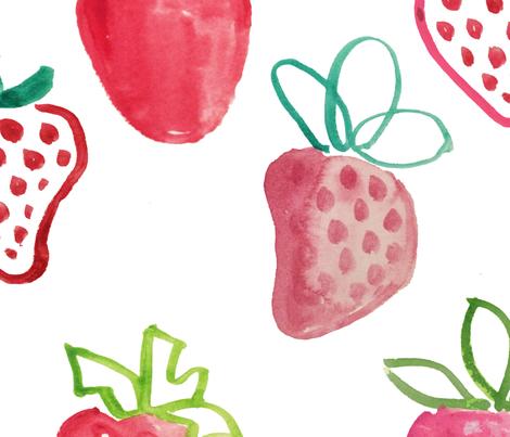 joyful abstract strawberries fabric by tiffanyw07 on Spoonflower - custom fabric