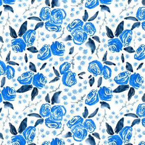 Blue Floral // indigo trendy  modern vintage roses  monochrome  navy classic  girly sweet pretty watercolor tamara arcilla tamara_arcilla