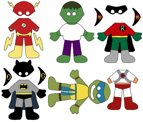 Paper Dolls - Superheroes fabric by joyfulrose on Spoonflower - custom fabric