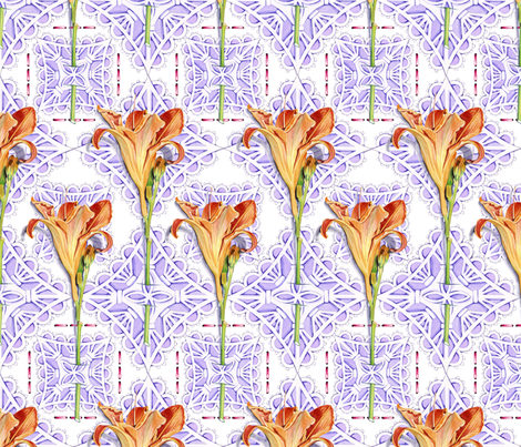 Victorian Watercolor Floral & Cut Work fabric by patriciasheadesigns on Spoonflower - custom fabric