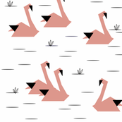 Swans - coral black and white, geometric, origami || by sunny afternoon