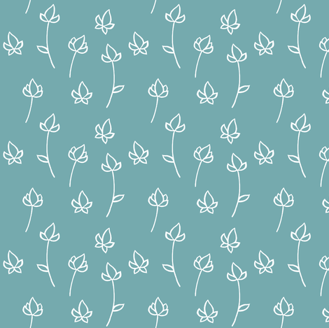 Blossom Buds in Washed Teal fabric by thistleandfox on Spoonflower - custom fabric