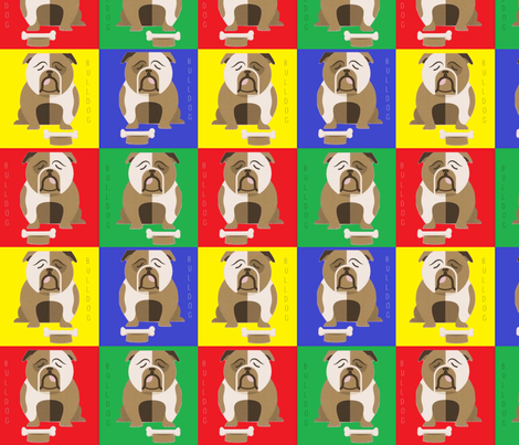 Rainbow Popart Bulldogs fabric by floramoon on Spoonflower - custom fabric