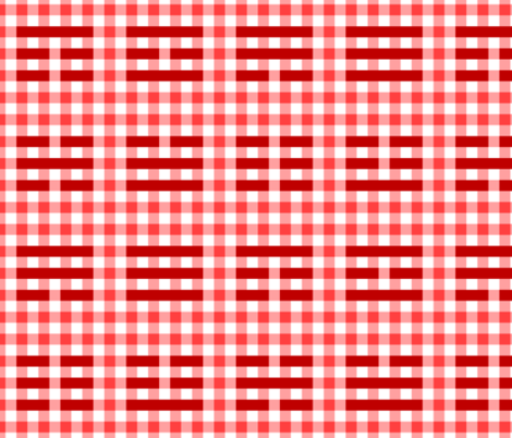 i-ching gingham thing : red fabric by sef on Spoonflower - custom fabric