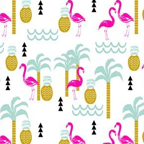 flamingo tropical palm tree pineapple summer beach trendy cute kids