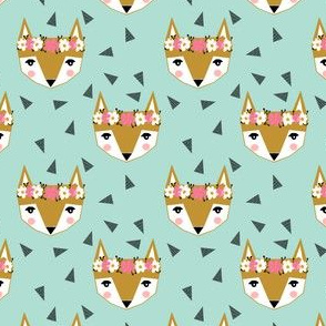 fox flowers crown mint cute girls sweet foxes girly fox print