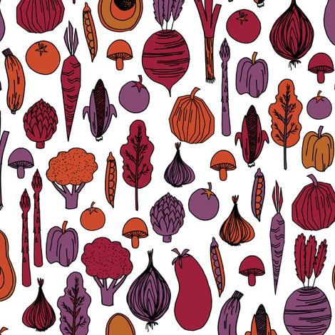 vegetables // root vegetables harvest veggies vegan fall autumn thanksgiving food  fabric by andrea_lauren on Spoonflower - custom fabric