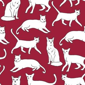 cats // autumn maroon burgundy cats fabric for cat ladies cute cats
