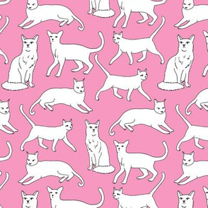 cats // pink cat fabric for girls cute cat design cats cat lady pet fabric