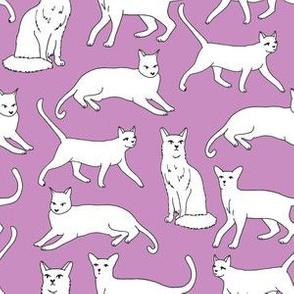 cats // purple cats autumn fall kids cute cat lady cat fabric for girls purple