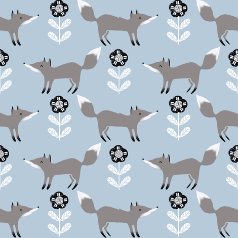 fox // winter grey blue animal woodland kids winter fabric fabric by andrea_lauren on Spoonflower - custom fabric