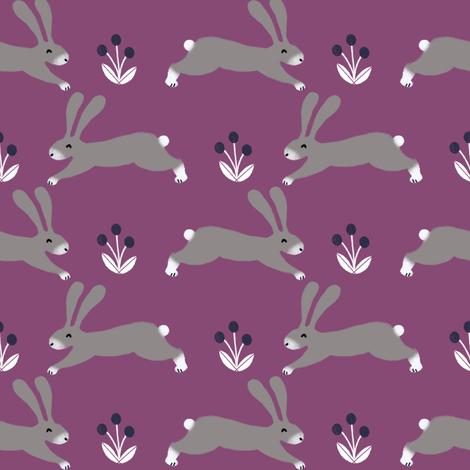 rabbit // fall autumn rabbit bunny cute purple autumn woodland animal critter fabric by andrea_lauren on Spoonflower - custom fabric