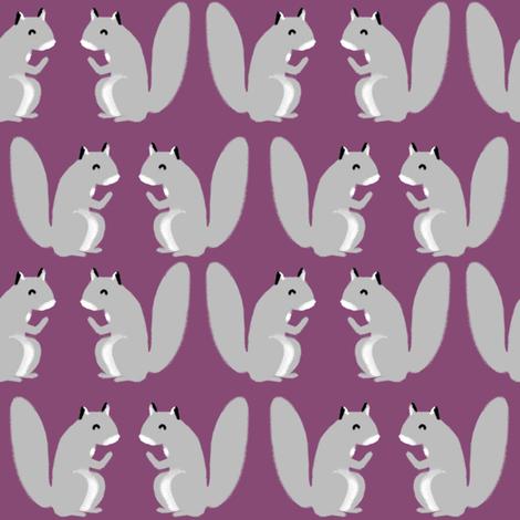 squirrel // cute squirrel woodland critter fall autumn squirrels purple fabric by andrea_lauren on Spoonflower - custom fabric