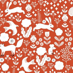 autumn // woodland critters bunny fox rabbit birds forest cute red orange marroon kids woodland fabric
