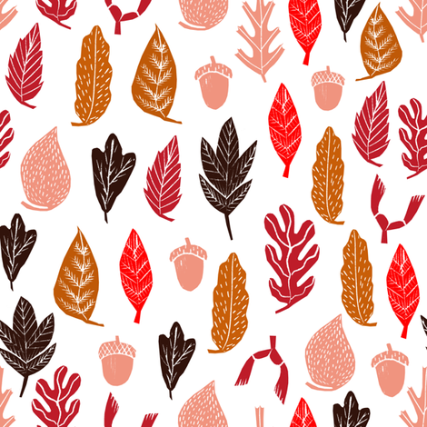fall leaves // autumn leaves oak acorn leaf fall autumn leaves fabric by andrea_lauren on Spoonflower - custom fabric