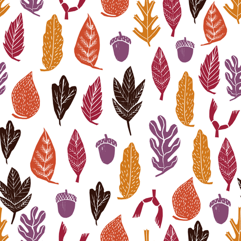 autumn leaves // forest woodland kids cute oak oak leaves acorn autumn fall colors fabric by andrea_lauren on Spoonflower - custom fabric