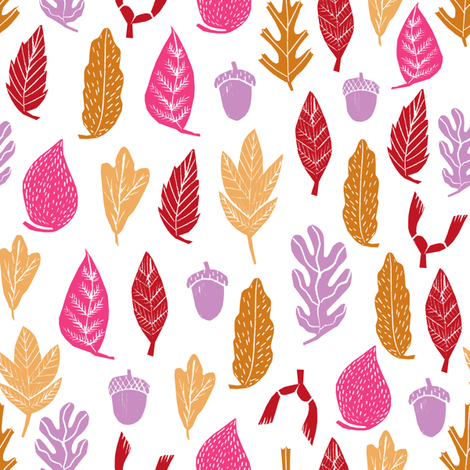 autumn leaves // fall autumn oak acorn autumn maroon purple rich colors fabric by andrea_lauren on Spoonflower - custom fabric