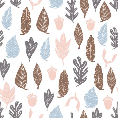 autumn leaves // soft pastel baby nursery cute oak oak leaves acorns cute baby design fabric by andrea_lauren on Spoonflower - custom fabric