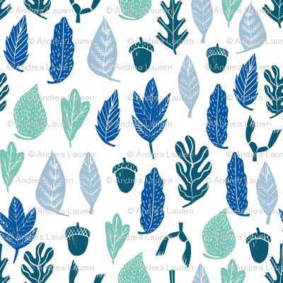 autumn leaves // forest blue kids oak leaves leaf cute nature print