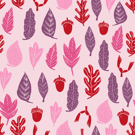 autumn leaves // autumn fall pink purple kids cute leaf oak  acorns girls autumn fall colors fabric by andrea_lauren on Spoonflower - custom fabric