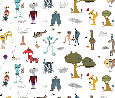 Meet the MoMeMans fabric by the_momemans on Spoonflower - custom fabric