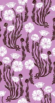 poppy // fall autumn purple flowers linocut block print nature botanical linocut fabric