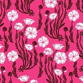poppy // fall autumn pink flowers vintage style florals linocut block print kids girls sweet vintage style linocut flowers