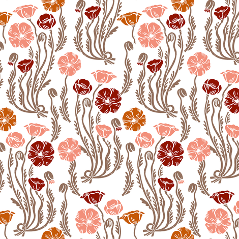 poppy // fall autumn leaves colors thanksgiving october harvest florals flowers linocut vintage flowers fabric by andrea_lauren on Spoonflower - custom fabric