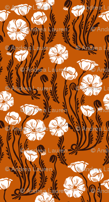 poppy // fall autumn thanksgiving linocut block print harvest linocut block printed florals vintage flower botanical print