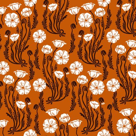 poppy // fall autumn thanksgiving linocut block print harvest linocut block printed florals vintage flower botanical print fabric by andrea_lauren on Spoonflower - custom fabric