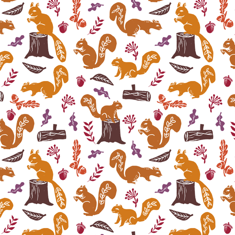 squirrels // nature fall autumn woodland forest oak oak leaves kids baby  fabric by andrea_lauren on Spoonflower - custom fabric