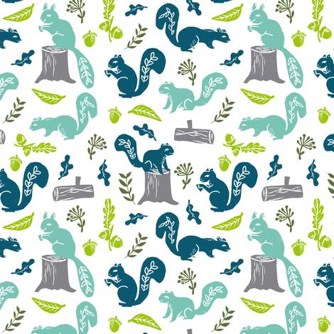 squirrels // fall autumn boys kids nature outdoors woodland forest squirrels linocut block print fabric by andrea_lauren on Spoonflower - custom fabric