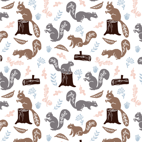 squirrels // nature fall kids woodland outdoors camping soft colors baby cute animals fabric by andrea_lauren on Spoonflower - custom fabric