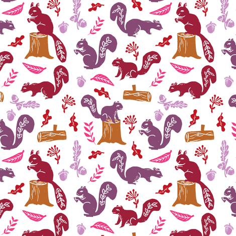 squirrels // kids oak nature woodland forest critter animals block print linocuts cute fall colors fabric by andrea_lauren on Spoonflower - custom fabric