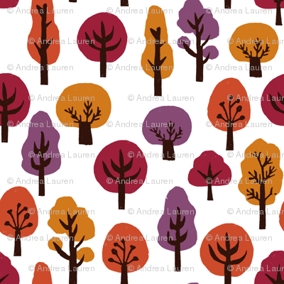 trees // forest woodland fall autumn fall colors autumn colours linocut block print trees cute forest design