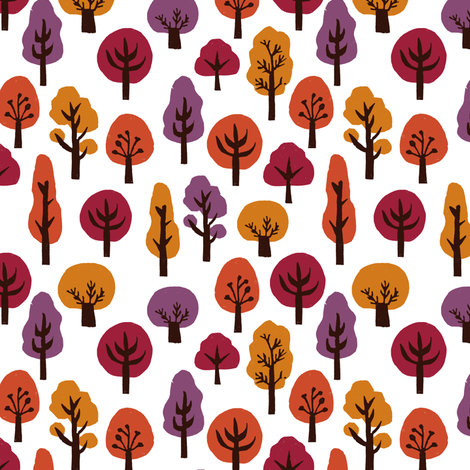 trees // forest woodland fall autumn fall colors autumn colours linocut block print trees cute forest design fabric by andrea_lauren on Spoonflower - custom fabric